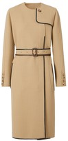 Burberry Leather-Trim Wool-Blend Dress Coat