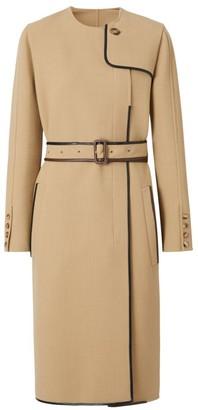 Burberry Leather-Trim Wool-Blend Dress Coat