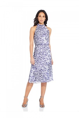 Adrianna Papell Watercolor Leopard Bias Dress In Purple Multi