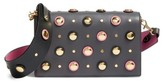 Diane von Furstenberg Soiree Embellished Leather Convertible Clutch - Grey