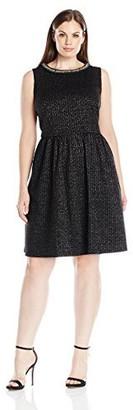 London Times Women's Plus Size Beaded Neck Full Skirt Knit Sparkle Dress