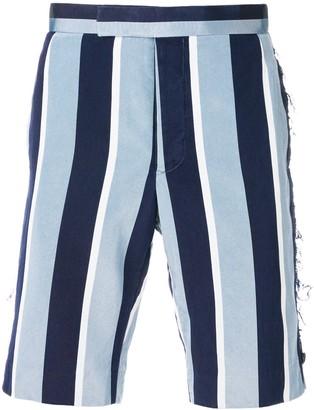 Thom Browne Distressed Wide Repp Stripe Short