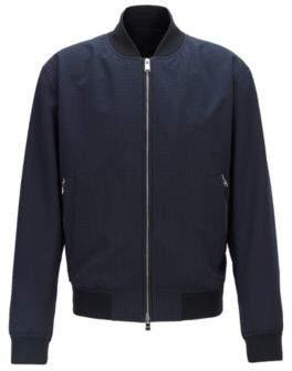 BOSS Regular-fit bomber-style blouson jacket in seersucker fabric
