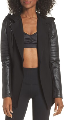 Blanc Noir Hooded Moto Blazer with Faux Leather Sleeves