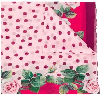 Dolce & Gabbana Polka-Dot Rose Print Scarf