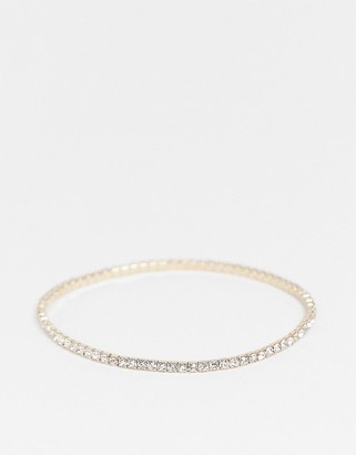 Asos DESIGN stretch bracelet with crystal in gold tone