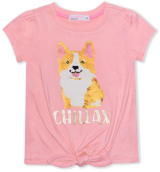 Corgi Young Hearts Girls' Tee Shirts PINK - Pink 'Chillax' Tie-Front Reverse-Sequin Tee - Toddler