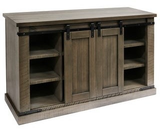 Stylecraft Home Collection StyleCraft Peachtree Wood Sliding Barn Door Media Console with Removable Shelves