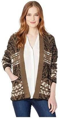 Rock and Roll Cowgirl Long Sleeve Cardigan 46-3156 (Olive) Women's Clothing