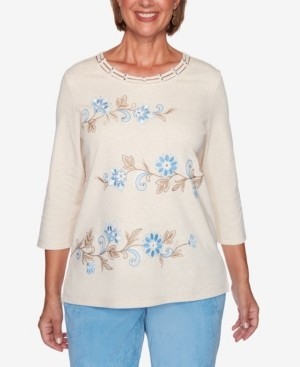 Alfred Dunner Women's Missy Dover Cliffs Floral Scroll Biadere Embroidery Top