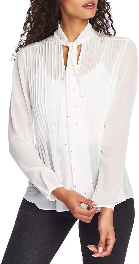 1 STATE 1.STATE Tie Neck Pintuck Chiffon Blouse