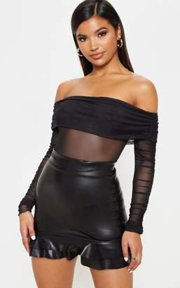 PrettyLittleThing Black Faux Leather Frilled Hem Mini Skirt