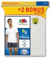 Fruit of the Loom Men's V-Neck 6+2 Pk White - Undershirt