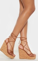 Cityshoe Tan Strappy Lace Up Cork Wedge