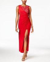 R & M Richards Petite Draped Lace Faux-Wrap Gown