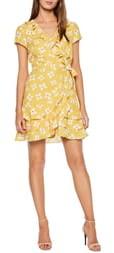 Bardot Abstract Daisy Faux Wrap Dress