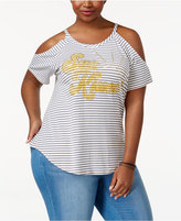 American Rag Trendy Plus Size Sun Kiss Cold-Shoulder T-Shirt, Only at Macy's