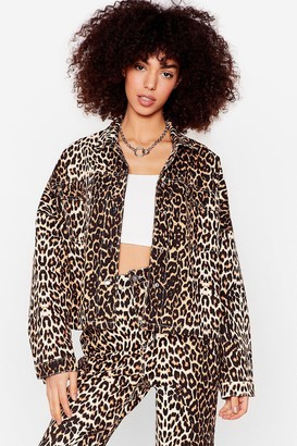 Nasty Gal Womens Young Wild and Free Leopard Denim Shirt Jacket - Brown - 6, Brown