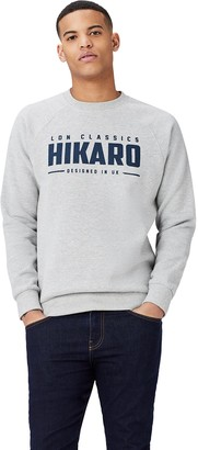 Amazon Brand - Hikaro Men's Logo Sweatshirt Multicolour (Gingham Black / Gingham Red) S Label:S