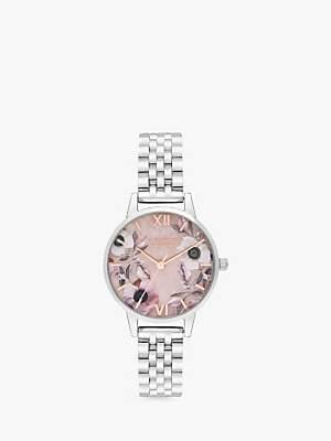 Olivia Burton OB16SP07 Women's Semi Precious Florals Bracelet Strap Watch, Silver/Multi