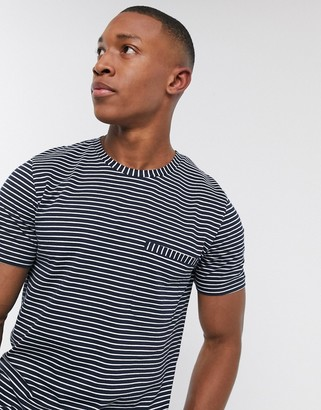 Selected organic cotton stripe pocket t-shirt in navy