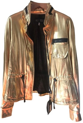 Armani Jeans Gold Leather Jacket for Women