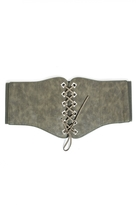 Quiz Khaki Lace Up Corset Belt