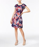 NY Collection Petite Printed Contrast-Neck A-Line Dress