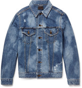 Saint Laurent Sweet Dreams-Appliquéd Distressed Denim Jacket