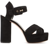 Nicholas Kirkwood Essential Mirrored-heel Suede Platform Sandals - Womens - Black
