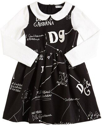 Dolce & Gabbana Logo Printed Cotton Interlock Dress