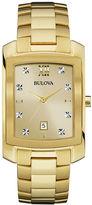 Bulova Diamonds Mens Diamond-Accent Rectangular Gold-Tone Stainless Steel Watch 97D107