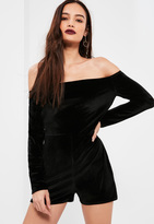 Missguided Black Long Sleeve Bardot Velvet Romper