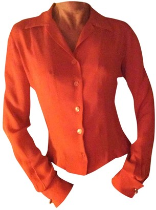 Herve Leger Orange Silk Top for Women