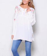 Paparazzi White Embroidered Split-Bodice Long-Sleeve Tunic