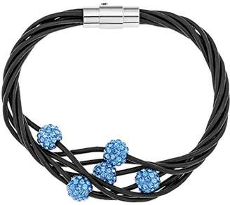 Ornami Multi Strand Leather Bracelet with Blue Coloured Crystal Beads of 19cm