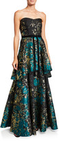 Marchesa Strapless Metallic Fil Coup Tiered Gown with Velvet Waist Trim