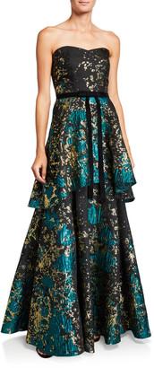 Marchesa Strapless Metallic Fil Coup Tiered Gown with Velvet Waist Trim