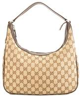Gucci Brown Leather GG Monogram Canvas Hobo Bag