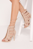 Missguided Cut Out Lace Up Heeled Gladiator Nude