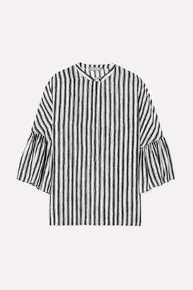 Michael Kors Striped Silk-crepe Blouse - White