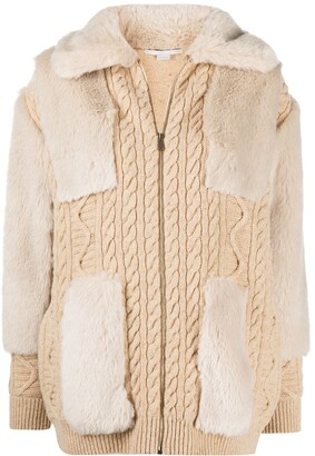 Stella McCartney Cable-Knit Faux-Fur Cardigan