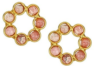 Sylvia Toledano Daisy 22K Goldplated & Rodochrosite Stud Earrings