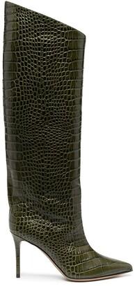 Alexandre Vauthier Crocodile-Effect Knee-High Boots