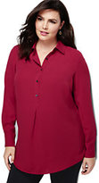 Classic Women's Plus Size Popover Tunic Top-Vibrant Magenta Painted Floral