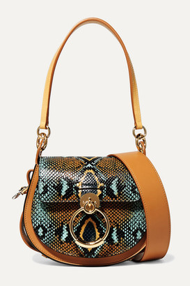 Chloé Tess Small Snake-effect And Smooth Leather Shoulder Bag - Orange