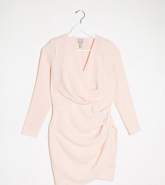ASOS DESIGN Petite long sleeve pleat front wrap mini dress in blush