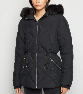 New Look Quilted Faux Fur Trim Puffer Jacket