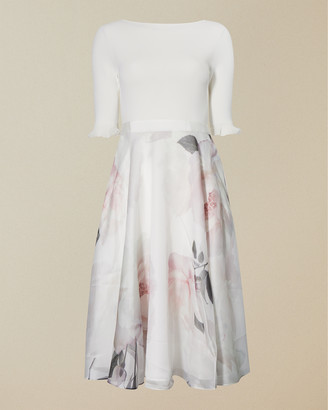 Ted Baker ILINE Bouquet print full skirt dress