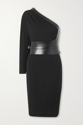 Tom Ford One-sleeve Leather-paneled Jersey Dress - Black